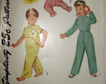 1950 Vintage Simplicity 3377 Pattern, Toddlers Pajama Sleepers, Size 2
