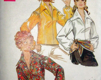 60s Overblouse Butterick 5526, Vintage Sewing Pattern, Winged Collar, Bust 32 1/2