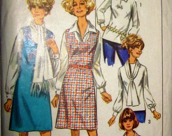 70s Jumper Simplicity 8890 Vintage Sewing Pattern, Blouses and Scarf, Size 14.5, Bust 37