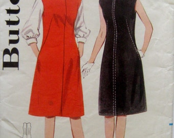 60s A-Line Dress or Jumper, Butterick 3178 Vintage Sewing Pattern Size 12, Bust 32