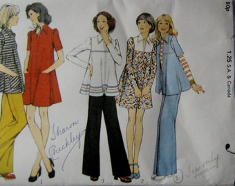 70s Retro Dress, Tunic and Slightly Flared Pants, Style 4088 Vintage Sewing Pattern, Size 10