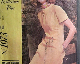 A-Line Dress 60s McCalls 1073 Vintage Sewing Pattern, Mollie Parnis, Size 10 Bust 32 1/2