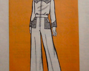 On Sale - 70s Vintage Marian Martin 9389 Sewing Pattern, Pantsuit One-Piece, Size 14, Bust 32