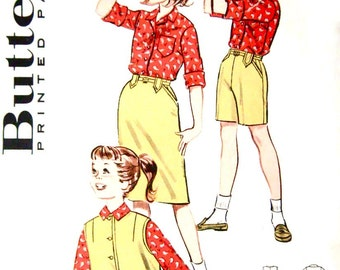 Girls Vintage 60s Shirt Jacket Slim Pants & Skirt Pattern Butterick 9252, Size 12