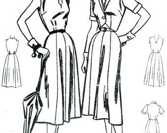 50s Flared Skirt Dress Vintage Sewing Pattern, McCalls 9752, Short Jacket Bust 36 Size 18