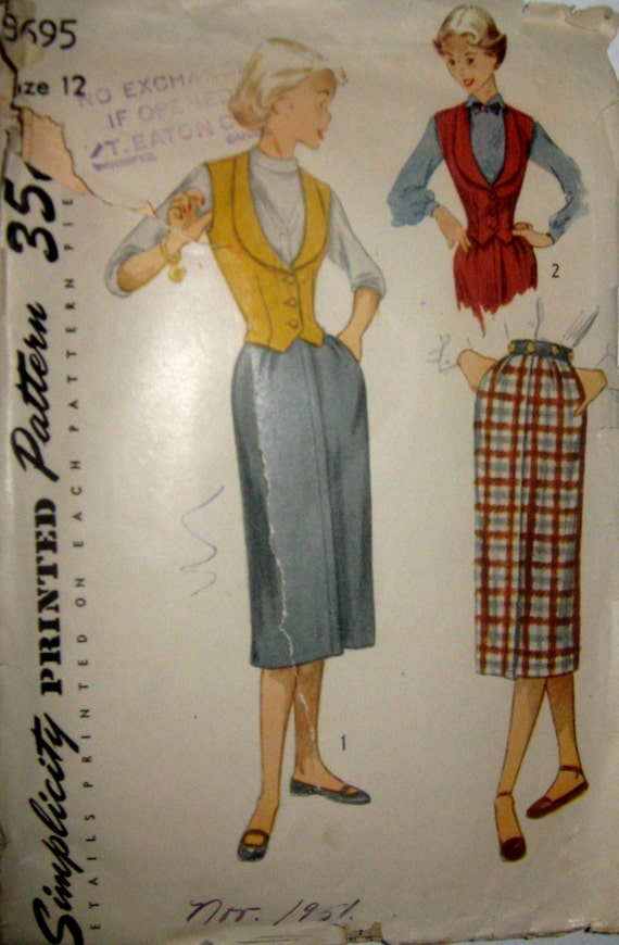 50s Vintage Sewing Pattern - Misses Skirt and Fashionable Weskit, Simplicity 3695, Size 12