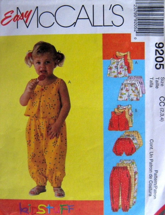 90s Childrens Top, Pants, Shorts & Bloomers Sewing Pattern McCalls 9205 Size 2 to 4