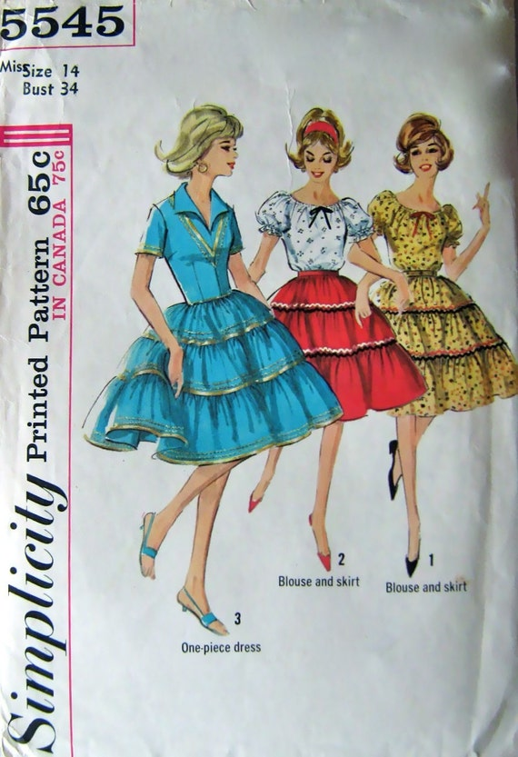60s Vintage Peasant Blouse, Skirt, Simplicity 5545 Pattern, Bust 34, Size 14