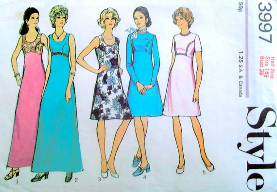 Vintage 70s Maxi Length Dress Sewing Pattern, Bust 39