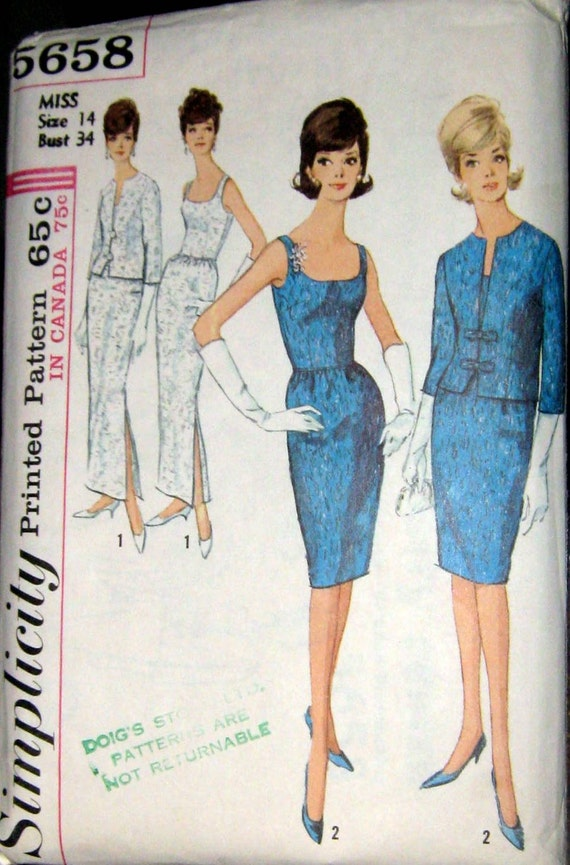 1960s Uncut Vintage Pattern- Wiggle Dress and Jacket - Bust 34- Simplicity 5658