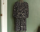 Black and Cream Paint Splatter Drop Waist Dress