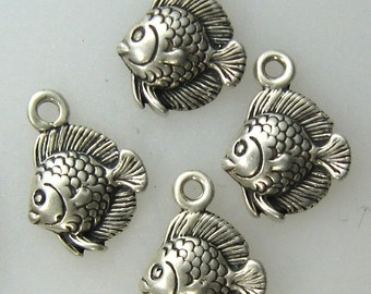 4 pcs- Little Angel Fish Sterling Silver Charms