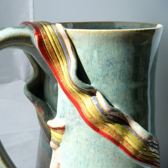 Rainbow Mug with Ribbon and Pride in Sky Blue