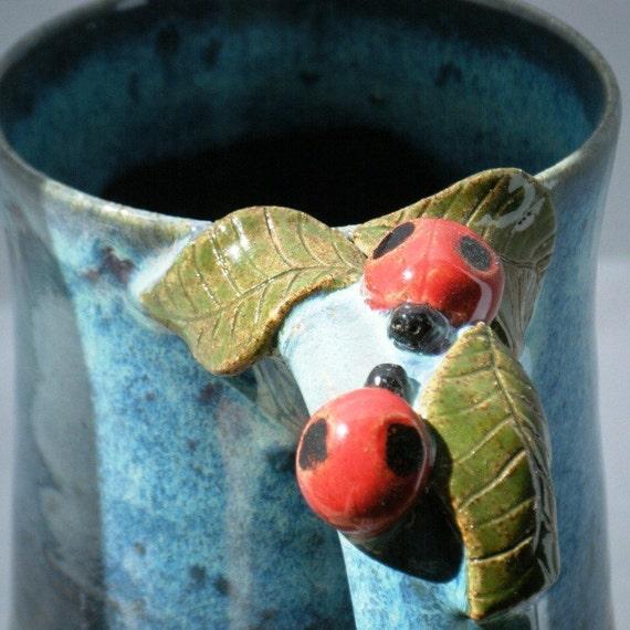 Love Bug Mug with Purple and Blue Glazes