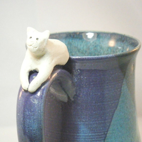 White Cat Coffee Mug in Purple and Blue
