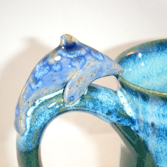 Dolphin Mug in Blue and Green