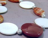 Carnelian Silver and Mother of Pearl Necklace