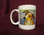 Ceramic Mug, 9.5cm/8cm, with adorable Jack Russel Terrier on front