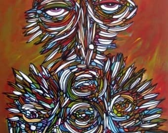 Owl Painting Original Abstract Art by Julie Steiner