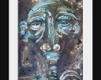 Figure Painting Original Abstract Recycled Tar Paper