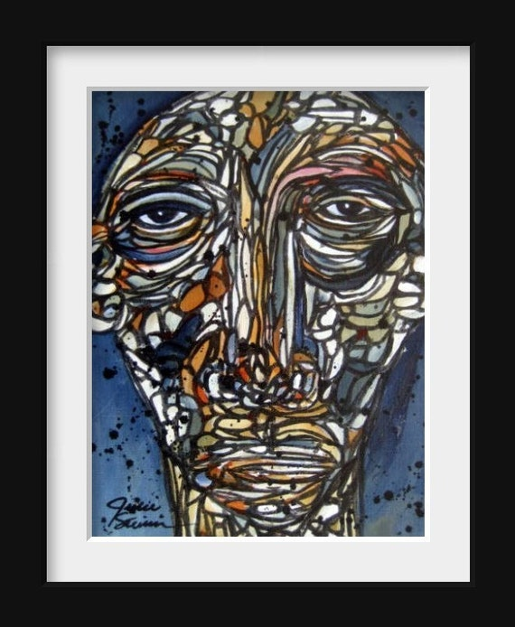 Original Abstract Portrait Painting Funky Art