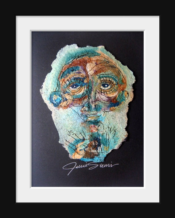 Original Mixed Media Tar Paper Painting by Julie Steiner