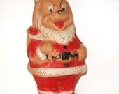 Vintage Squeaky Santa Claus Doggie Toy, Christmas Squeeze Toy  (735-10)