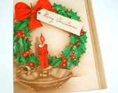 Vintage Merry Christmas Greeting Card, Red and Green, Mid Century,  1943 (2420)