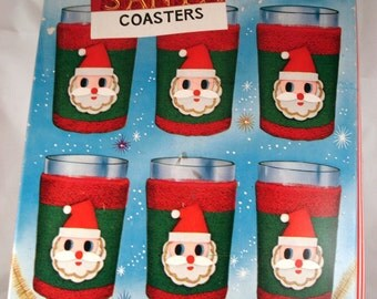 Vintage Christmas Santa Claus Coasters, Cozies, Red, Green, White, Boxed Set, Holiday Decor, New Old Stock, Made in Japan