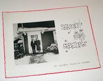 Vintage Christmas Photograph Postcard Seasons Greetings  (754-10)