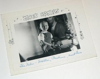 Vintage Christmas Photograph Postcard Seasons Greetings Boy   (753-10)