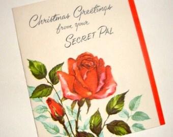 Vintage Christmas Greetings Card, Secret Pal,  Red Rose, Flowers, Old Card, 1963  (679-10)