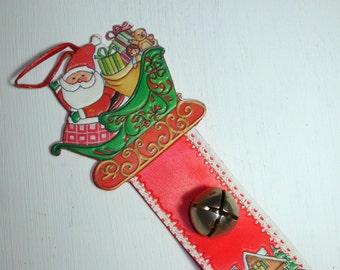 Vintage Christmas Door Bell Hanger, Santa  Claus, Jingle Bells, Red, Retro Holiday Decor, Christmas Decoration (154-11)