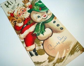 Vintage Santa. Snowman Christmas Greeting Card, Saying Hi, Mid Century  (527-11)