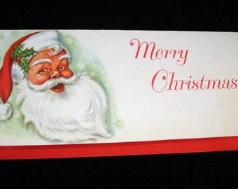 Vintage Money Holder Card with Envelope, Christmas Greetings, Santa Claus, Merry Christmas, Advertisement, Holiday Paper Ephemera  (602-10)