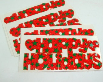 Happy Holiday Gift Tags, To and From Tags, Flocked Trim, Retro, Set One  (537-12)