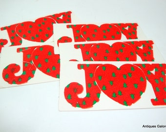 Christmas Joy Gift Tags, To and From, Retro Holiday, Red Flocking, Set One