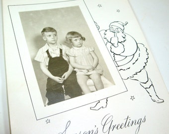 Vintage Season's Greeting Post Card, Santa, Black White, Children, Photograph, Photo Card, Holiday Picture, Christmas Card (552-12)