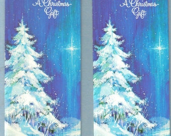 A Christmas Gift Money Cards with Envelope, Set of Two, Blue, Snowy Tree  (604-10)