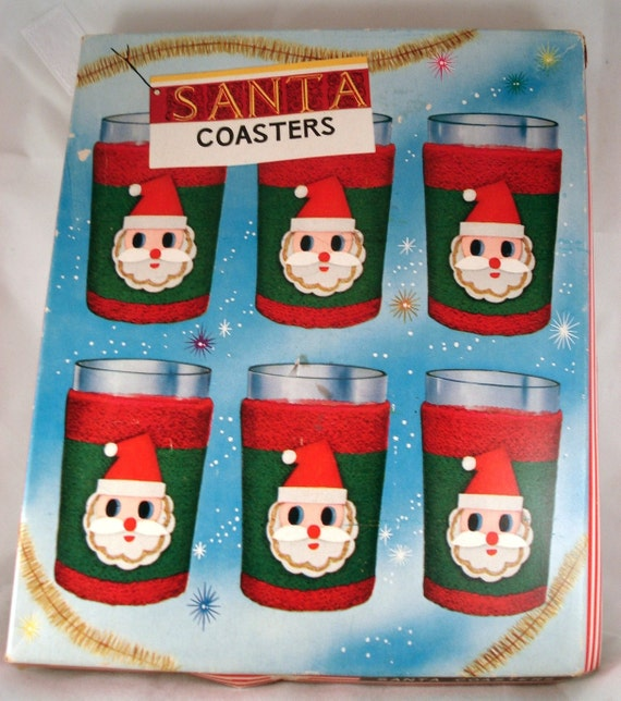 Lot Of 5 Vintage Christmas Decorations Kitsch Santa Claus: Vintage Christmas Santa Claus Coasters Cozies Red Green