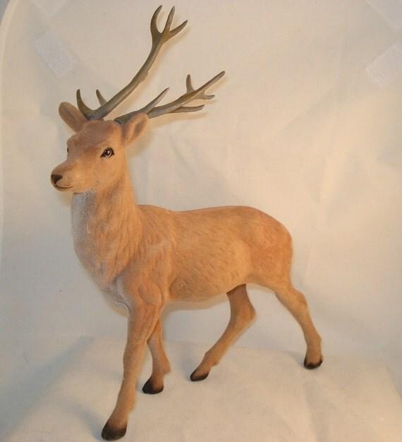 Vintage Flocked Deer Christmas Decor