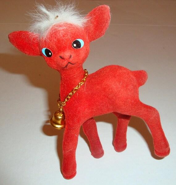 Vintage Red Flocked Deer No. 2