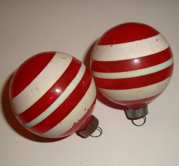 vintage red white striped christmas ornaments