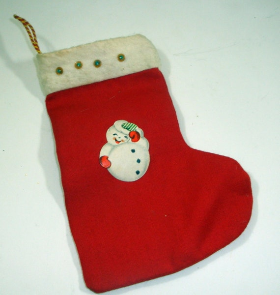 Vintage Small Red White Christmas Stocking Snowman