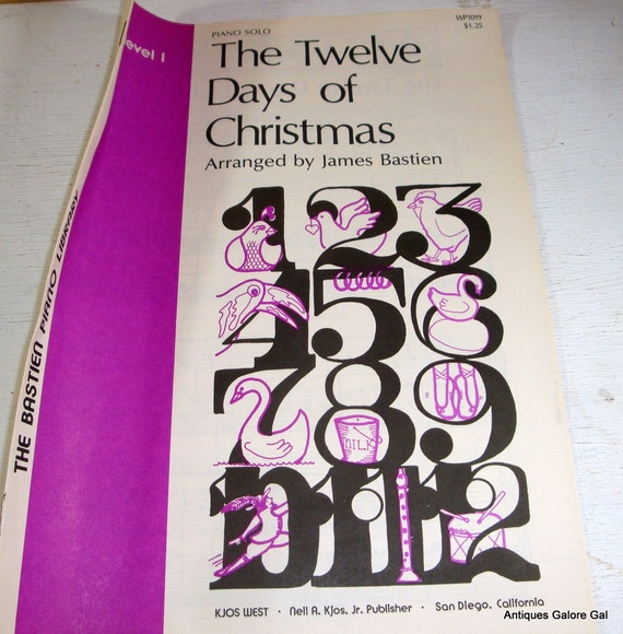 Vintage Christmas Sheet Music / The Twelve Days Of Christmas / Piano Solo / 1970s