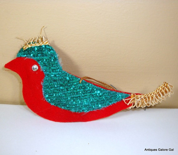 Vintage Red Felt Bird Christmas Ornament, Glitter, Holiday Decor, Made In Japan (92-12)