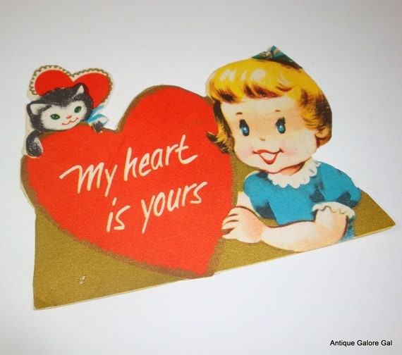 Vintage Child's Valentine, My Heart If Yours