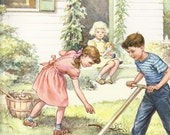 2  Vintage Lithograph  Posters Sunday School - 1959 and 1960 - Family Yardwork