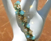 Blue-Green Pacific Opal an Golden Shadow Swarovski Crystal Handwoven Tennis  Bracelet