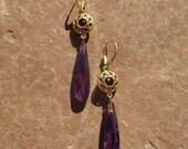 Golden Faceted Amethyst CZ Drop Earrings